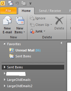 Outlook 2010 top level folders