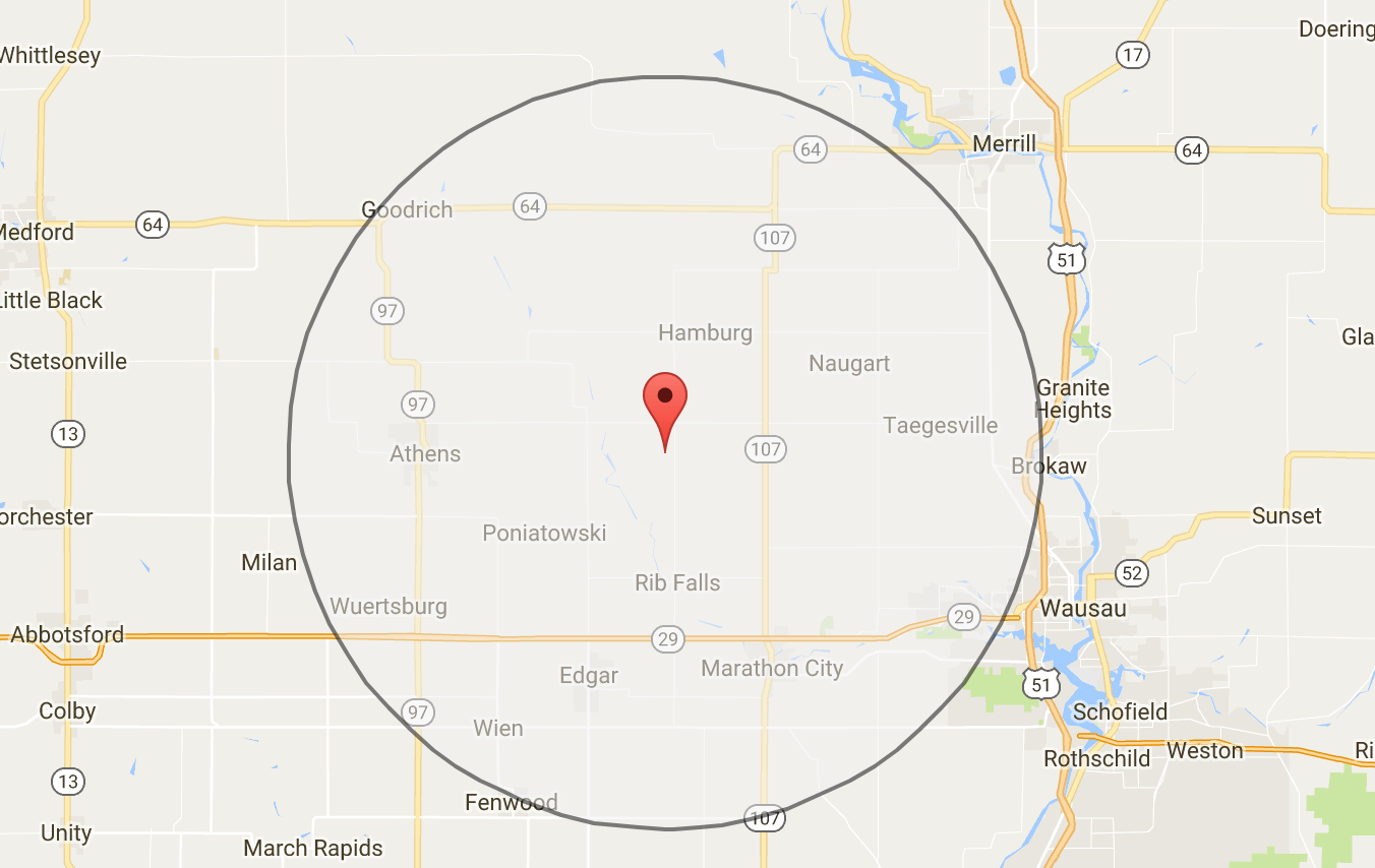 circle with google maps api. make a  km radiusbuffer around a point using google maps api v
