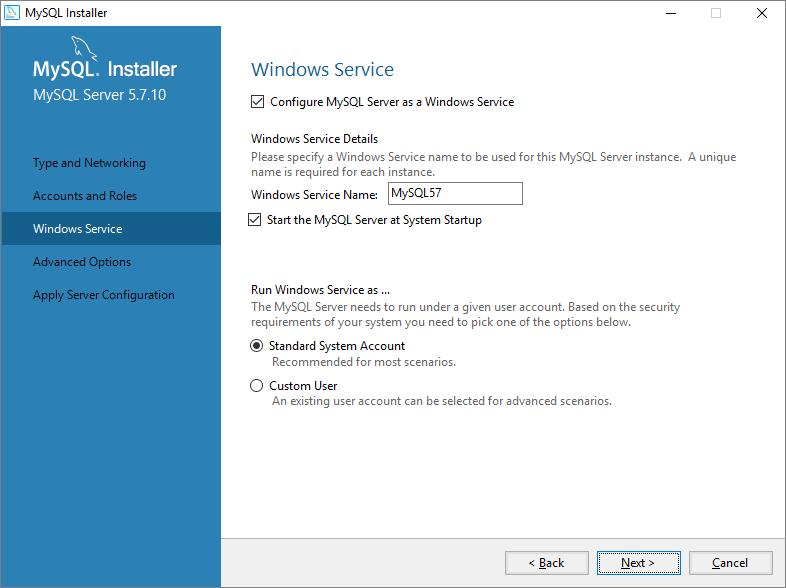 MySQL install as a service