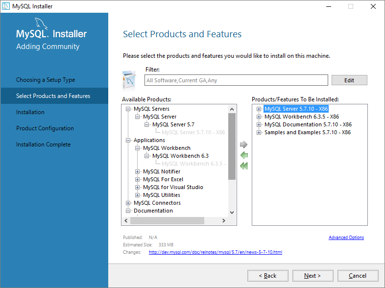 MySQL Product Selection